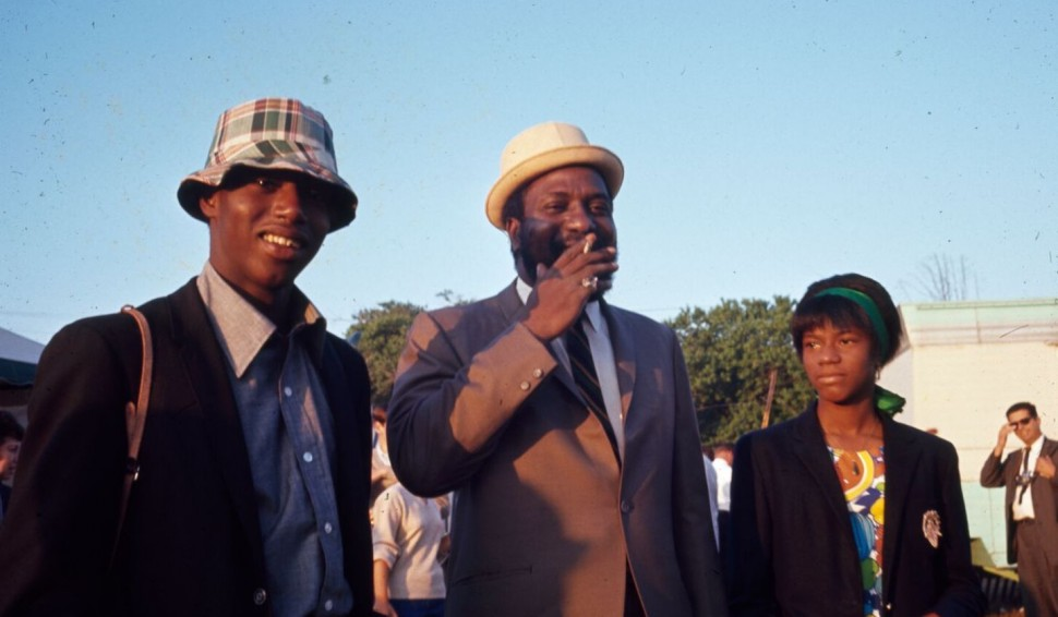 Thelonious Monk at the 1965 Newport Jazz Festival with his children, T.S. and Boo Boo.